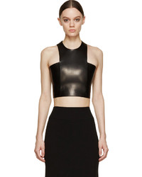 Balmain Black Leather Cropped Top