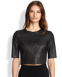 A.L.C. Corey Leather Cropped Top