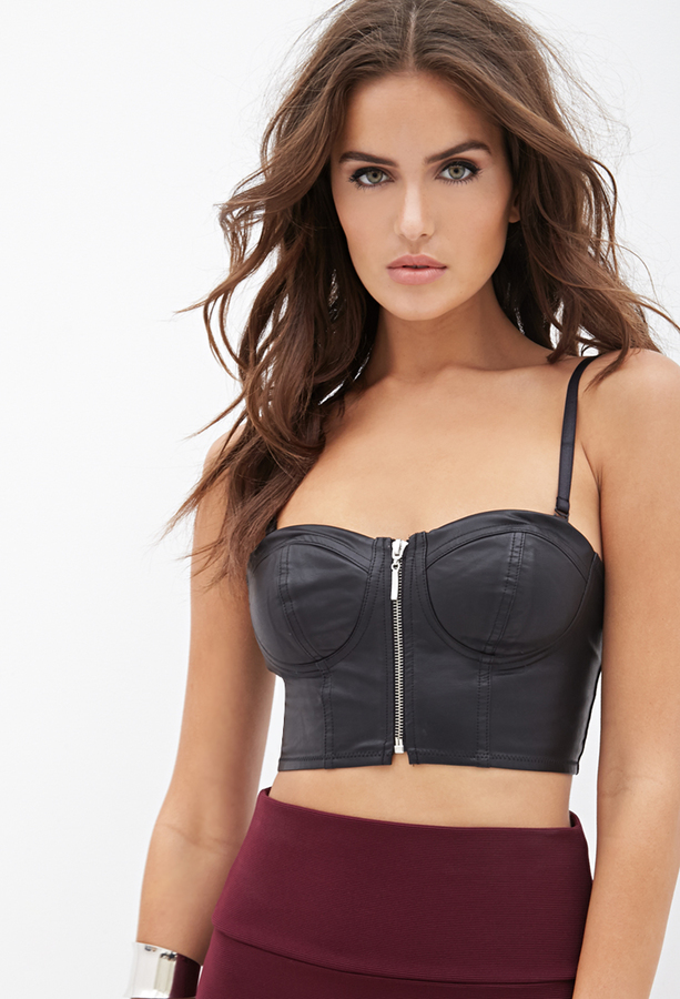 47d19b6c52 Forever 21 Faux Leather Bustier