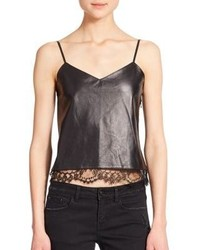 The Kooples Lace Trim Leather Camisole