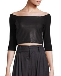 Alice + Olivia Mel Cropped Off The Shoulder Top