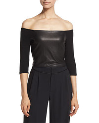 Mel off the shoulder leather panel crop top black medium 739349