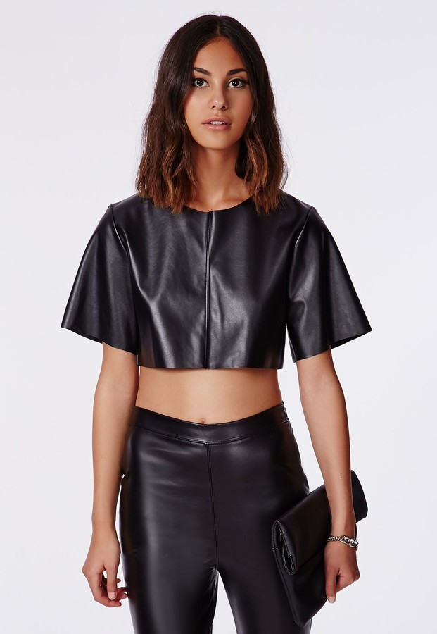 855aafc5ffaa5 ... Missguided Faux Leather Crop Top In Black ...