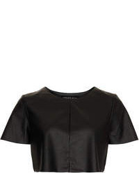 Topshop Petite Leather Look Crop Tee