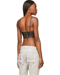 62dca4c168989 ... Alexander Wang T By Black Leather Raw Edged Triangle Bralette ...