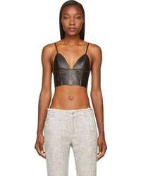 Alexander Wang T By Black Leather Raw Edged Triangle Bralette