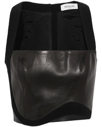 Thierry Mugler Mugler Cropped Crepe Trimmed Leather Top Black
