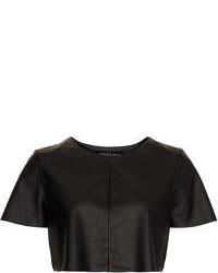 Topshop Petite Leather Look Crop Tee