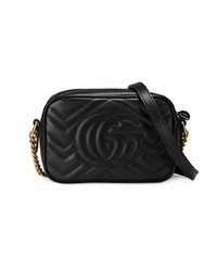 Gucci Black Gg Marmont Mini Leather Bag
