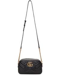 Gucci Black Small Gg Marmont 20 Camera Bag
