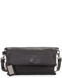 Badgley Mischka Brynn Fold Over Leather Crossbody Bag Black