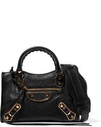 Balenciaga City Mini Textured Leather Shoulder Bag Black