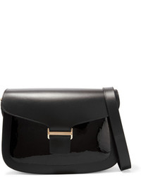 Vanessa Seward Claire Matte And Patent Leather Shoulder Bag Black