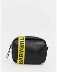 0bfa90d718 ... Missguided Cross Body Bag In Black With Baby Girl Logo