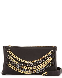 Ash Domino Layered Chain Crossbody Bag Blacksilvergold