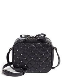 Valentino Garavani Rockstud Leather Camera Crossbody Bag Black