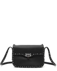 Valentino Garavani Rockstud Noir Calfskin Leather Shoulder Bag