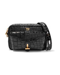Tom Ford Glossed Croc Effect Leather Camera Bag