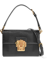 Dolce & Gabbana Lucia Lizard Effect Leather Shoulder Bag Black