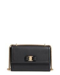 Salvatore Ferragamo Medium Ginny Ed Leather Bow Shoulder Bag