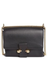 Alexander McQueen Medium Twin Skull Flap Shoulder Bag Black