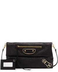 Balenciaga Metallic Classic Edge Envelope Crossbody Bag Black