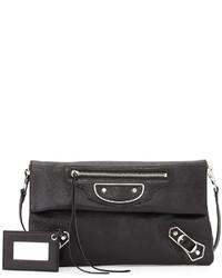Balenciaga Metallic Edge Envelope Crossbody Bag Black