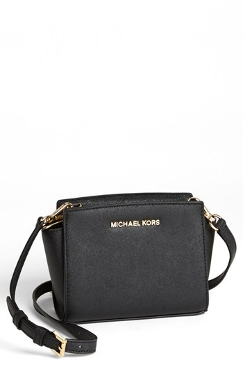 9601a59308 ... MICHAEL Michael Kors Michl Michl Kors Selma Mini Saffiano Leather  Messenger Bag Black