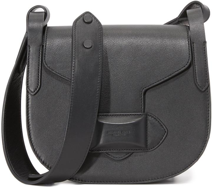 14000a302c95 ... Black Leather Crossbody Bags Michael Kors Michl Kors Collection Daria  Small Cross Body Saddle Bag ...