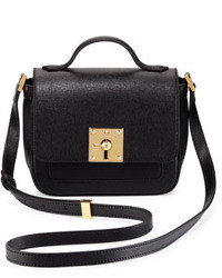 Fendi Mini Borsa Leather Crossbody Bag Black