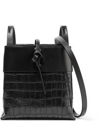 Kara Nano Tie Matte And Croc Effect Patent Leather Shoulder Bag Black