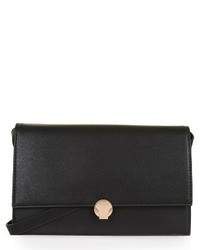 Topshop Ocean Faux Leather Crossbody Bag Black