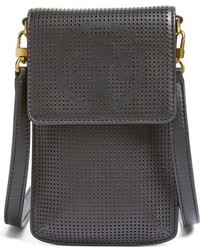 Tory Burch Perforated Leather Smartphone Crossbody Bag Black