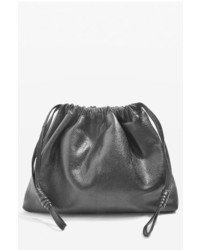 Topshop Premium Leather Drawstring Crossbody Bag Grey
