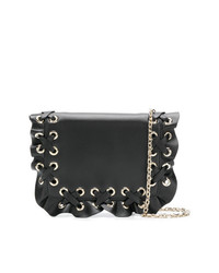 RED Valentino Red Woven Ruffle Shoulder Bag