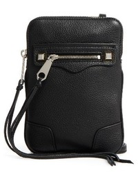Rebecca Minkoff Regan Zip Phone Leather Crossbody Bag Black