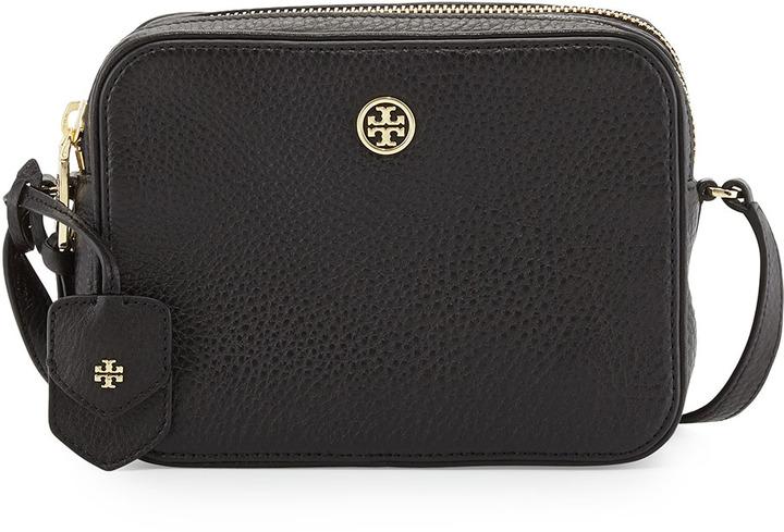 0f6e424db1d ... Tory Burch Robinson Double Zip Shrunken Leather Crossbody Bag Black ...