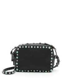 Valentino Rockstud Alce Leather Camera Crossbody Bag Black