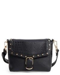 Topshop Romeo Embossed Faux Leather Crossbody Bag Black