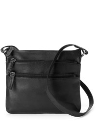 Rr Leather 3 Zip Leather Crossbody Bag
