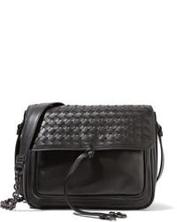 Bottega Veneta Saddle Small Intrecciato Leather Shoulder Bag Black