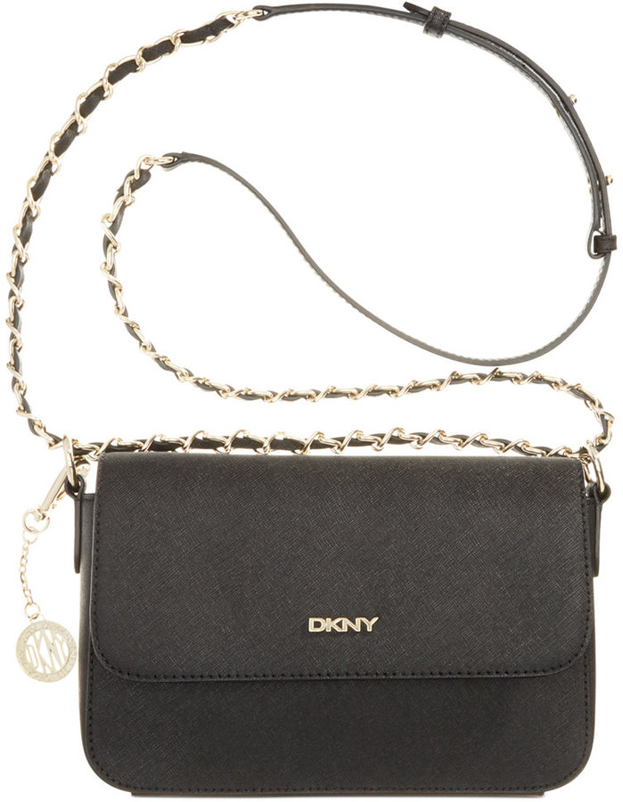 399126bf67c9 ... Black Leather Crossbody Bags DKNY Saffiano Leather Small Flap Crossbody  With Chain ...