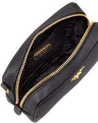 ... Prada Saffiano Mini Zip Crossbody Bag Black