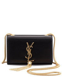 Saint Laurent Cassandre Small Tassel Crossbody Bag Black