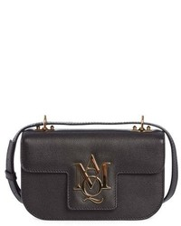 Alexander McQueen Small Insignia Calfskin Leather Crossbody Satchel Black