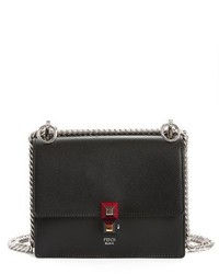 Fendi Small Kan I Leather Bag Burgundy