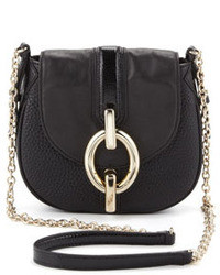 Diane von Furstenberg Sutra Mini Leather Crossbody Bag Black