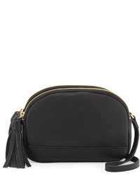 Neiman Marcus Tassel Double Zip Crossbody Bag Black