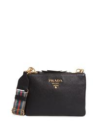 Prada Vitello Daino Double Compartt Leather Crossbody Bag