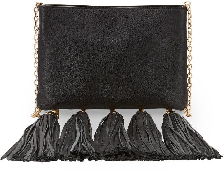 Zac Claudette Leather Tassel Crossbody Bag Black